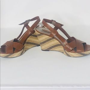 Brown and Tan Sandal Shoes Never Worn Leather
